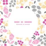 Vector abstracte roze, gele en grijze bladeren Royalty-vrije Stock Afbeelding