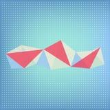 Vector abstracte veelhoekige rode, blauwe en witte transparante vorm Stock Afbeeldingen