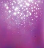 Vector abstracte violette achtergrond met lichten en sterren Stock Foto