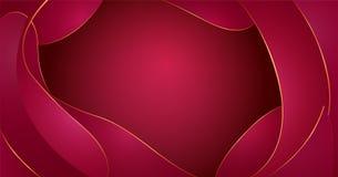 Vector abstracte vloeibare vormensamenstelling De achtergrond van rode wijngolven met plastic vloeibare, organische vormen, goude stock illustratie