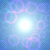 Vector abstracte zonnige blauwe hemelachtergrond met roze bellen vector illustratie