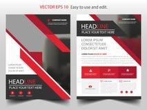 Vector abstracto rojo de la plantilla del diseño del folleto del informe anual del triángulo Cartel infographic de la revista de