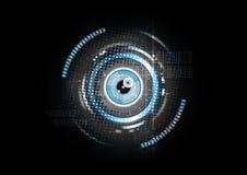 Vector abstracto tecnológico del fondo del concepto de la exploración de la retina Imagen de archivo
