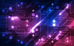 Vector abstrakte futuristische Leiterplatte, hohe Digitaltechnik-Blaufarbe der Illustration lizenzfreie abbildung