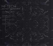 Vector abstrakte futuristische Leiterplatte, hohen Hintergrund des dunklen Schwarzen der Computertechnologie der Illustration Far lizenzfreie abbildung