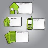 Vector abstrakte grüne infographic Aufkleber mit Ikonen Stockfoto