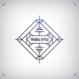Vector abstrakte Stammes- Linie Form, Logo, der lokalisierte Rahmen Boho, geometrischer Stil lizenzfreie abbildung
