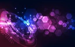 Vector abstrakten futuristischen hohen blauen Hintergrund der Digitaltechnik Farb, Illustrationsnetz Lizenzfreie Stockbilder