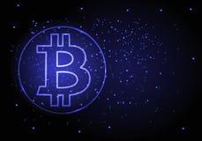 Vector abstrakten Hintergrund mit einem Symbol der bitcoin-Schlüsselwährung Lizenzfreies Stockfoto