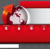 Vector abstrakten Hintergrund mit Ikonen und Kontinenten für Firma Stockfotos