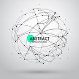 Vector abstrakten Hintergrund mit Punkt und Kurve konstruierte das Bereich wireframe Lizenzfreie Stockfotos