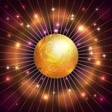 Vector abstrakten Planeten, Stern, Strahlen und feuern Sie Dunkelheit ab stock abbildung