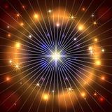 Vector abstrakten Stern, Strahlen und feuern Sie Dunkelheit ab Stockbild