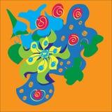 Vector abstraktes Design mit curvy Formen und Blätternlinien auf einem orange Hintergrund lizenzfreies stockfoto