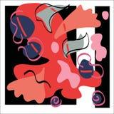 Vector abstraktes Design mit curvy Formen und Blätternlinien auf einem Schwarzweiss-Hintergrund stockfoto