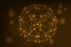 Vector abstraktes Goldgeometrisches Gitter, den Bereich von Molekülen Lizenzfreie Stockfotos