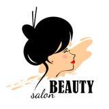 Vector abstraktes Logofrau ` s Gesicht im Profil Lizenzfreie Stockbilder