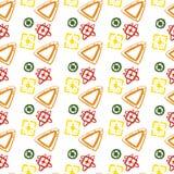 Vector abstraktes Muster für Design, orange Dreiecke, gelbe Quadrate Stockfoto