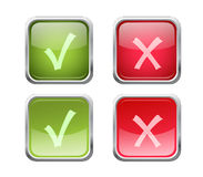 Vector accept and decline buttons. Set of  accept and decline buttons with pushed variants Stock Photo