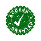 Access Granted Scratched Stamp with Tick royalty free illustration