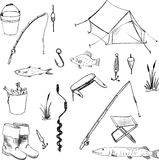 Vector accessories for fishing. Doodles accessories for fishing, vector set of hand drawn elements Stock Images