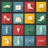 Vector accessories icon set- illustration Royalty Free Stock Photos
