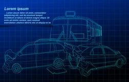Accident outline on blueprint background. vector illustration
