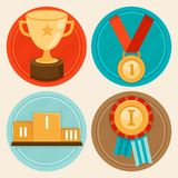 Vector achievement badges in flat style Stock Images