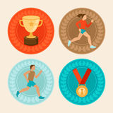 Vector achievement badges in flat style Stock Photography