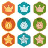 Vector achievement badges - gold, silver, bronze Stock Images