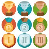 Vector achievement badges - gold, silver, bronze. Vector gamification icons in flat trendy style - three winning places in gold, silver and bronze - cup, medal Royalty Free Stock Images