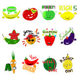 Vector Achievement school Labels. Set of 16 vector stickers with fruits and vegetables Royalty Free Stock Photos