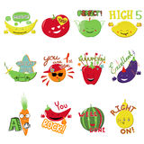 Vector Achievement school Labels. Set of 12 vector stickers with fruits and vegetables Royalty Free Stock Photos