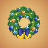 Vector, achtergrond, Kerstmiskroon met snuisterijen Royalty-vrije Stock Fotografie