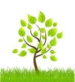 Vector achtergrond met boom en gras Stock Afbeelding