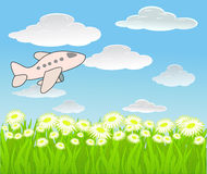 Vector achtergrond met hemel en vliegtuig royalty-vrije illustratie