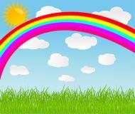 Vector achtergrond met hemel, regenboog en zon stock illustratie