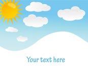 Vector achtergrond met hemel, zon en wolken vector illustratie