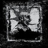 Vector achtergrond met jonge punker in grungestijl.