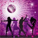 Vector achtergrond met mensen die in nachtclub dansen Royalty-vrije Stock Foto