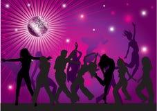 Vector achtergrond met mensen die in nachtclub dansen Royalty-vrije Stock Afbeelding