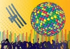 Vector achtergrond met mensen en dansende bal Stock Foto's