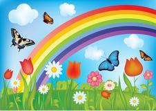 Vector achtergrond met regenboog Royalty-vrije Stock Foto's