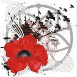 Vector achtergrond met rode bloem en vogels Stock Afbeelding