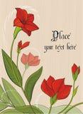 Vector achtergrond met rode bloemen Stock Afbeeldingen