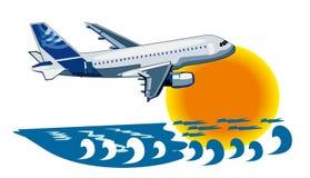 Vector achtergrond over reis door vliegtuig Royalty-vrije Stock Foto