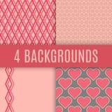 Vector achtergronden Gecontroleerde, hexagonale, hart en lijnentexturen Stock Foto's