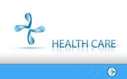 Vector achtergrondgezondheidszorgembleem en tekst stock illustratie