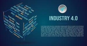 Vector achtergrondwoordwolk in 3D kubus met termijnen over de industrie 4 0 in blauwe kleur royalty-vrije stock afbeeldingen