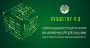 Vector achtergrondwoordwolk in 3D kubus met termijnen over de industrie 4 0 in groene kleur royalty-vrije stock foto
